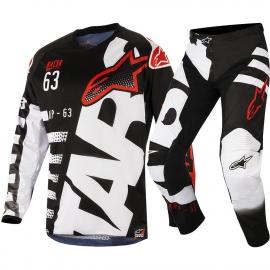 Completo Minicross Alpinestars Racer Braap Nero Bianco Rosso Bimbo Ragazzo