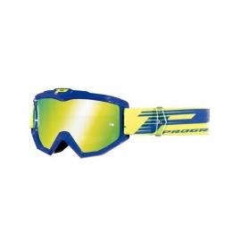 Maschera PROGRIP 3201 atzaky blu giallo fluo lente specchiata motocross enduro mtb