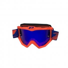 Maschera PROGRIP 3201 Arancio fluo lente specchiata motocross enduro mtb