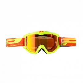 Maschera PROGRIP 3201 giallo fluo lente specchiata rossa motocross enduro mtb