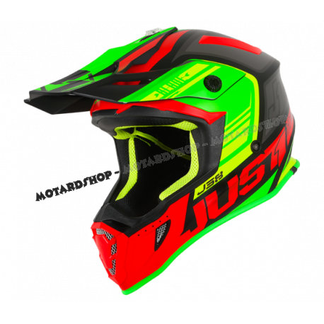 Casco Motocross Just1 J38 BLADE MATT RED LIME BLACK Enduro Quad Supermotard