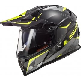 LS2 MX436 PIONEER RING CASCO ENDURO STRADALE NERO TITANIUM YELLOW