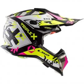 LS2 Casco MX470 Subverter TRIPLEX Black Pink Yellow motocross enduro
