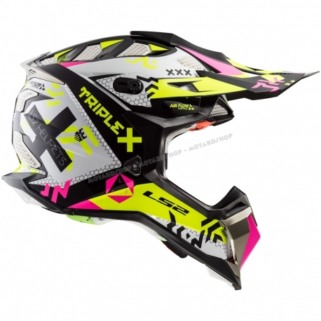 LS2 Casco MX470 Subverter TRIPLEX Black Pink Yellow motocross enduro