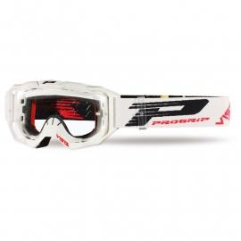 Maschera PROGRIP 3303 VISTA bianca lente chiara motocross enduro mtb