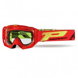 Maschera PROGRIP 3303 VISTA rossa lente chiara motocross enduro mtb
