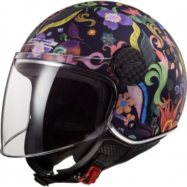 Casco jet LS2 OF558 Sphere LUX BLOOM blue pink doppia visiera Moto Scooter