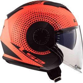 Casco jet LS2 OF570 Verso SPIN orange fluo matt Doppia visiera Moto Scooter