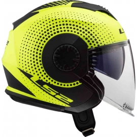 Casco jet LS2 OF570 Verso SPIN YELLOW fluo matt Doppia visiera Moto Scooter