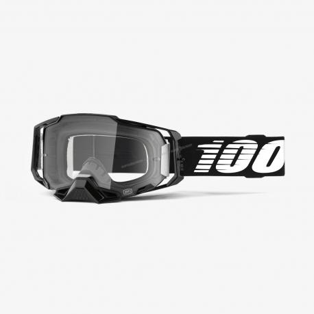 100% ARMEGA black lente chiara maschera Motocross Enduro Mtb Dh