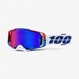 100% ARMEGA GENESIS lente specchiata blu rossa maschera Motocross Enduro Mtb Dh