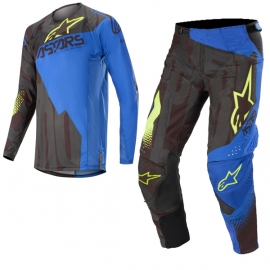 Completo motocross Alpinestars 2020 Techstar FACTORY black blue yellow fluo Enduro Quad