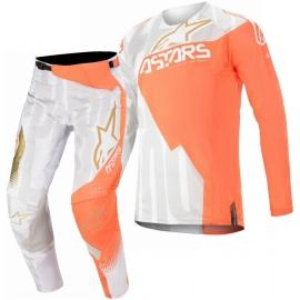 Completo motocross Alpinestars 2020 Techstar FACTORY white orange fluo Enduro Quad