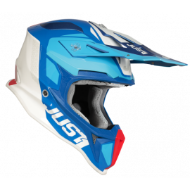 Casco Motocross Just1 J18 PULSAR blue red white gloss Enduro Quad Supermotard