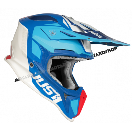 Casco Motocross Just1 J18 PULSAR blue red white gloss Enduro Quad Supermotard