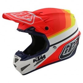 Casco Motocross TROY LEE DESIGNS SE4 ECE in compisito KTM MIRAGE bianco arancio Enduro Quad