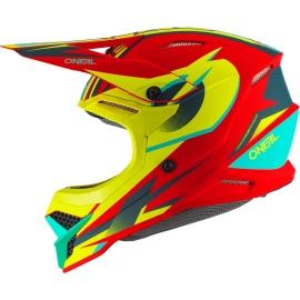 O'neal Casco 3SERIES RIFF 2.0 rosso giallo fluo motocross enduro quad