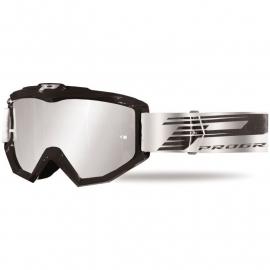 Maschera PROGRIP 3201 atzaky NERO lente specchiata silver motocross enduro mtb