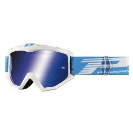 Maschera PROGRIP 3201 atzaky bianca lente specchiata blu motocross enduro mtb