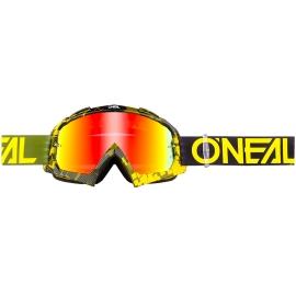 Maschera Motocross MTB DH O'Neal B-10 PIXEL neon yellow Lente specchiata oro