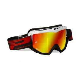 Maschera PROGRIP 3201 bicolore bianco nera lente specchiata rossa motocross enduro mtb