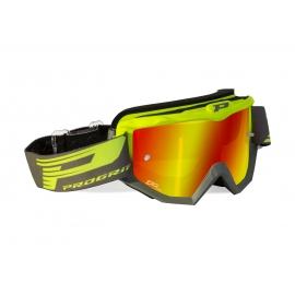 Maschera PROGRIP 3201 bicolore giallo fluo grigia lente specchiata rossa motocross enduro mtb