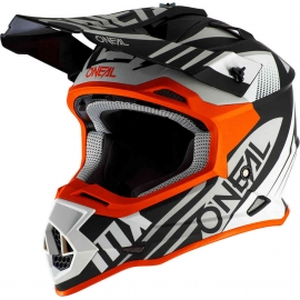 Casco O'neal 2 Series SPYDE 2.0 Nero bianco arancione motocross enduro quad