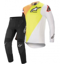 Completo motocross Alpinestars  Supertech Blaze 2021 giallo bianco e nero enduro Quad