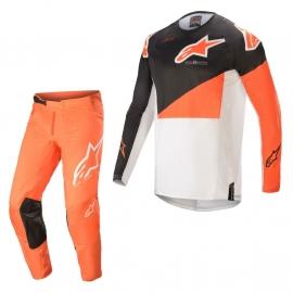 Completo motocross Alpinestars  Techstar Factory 2021 grigio arancio e bianco enduro Quad