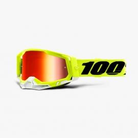 Maschera 100% Racecraft2 giallo fluo lente specchiata rossa Motocross Enduro Mtb