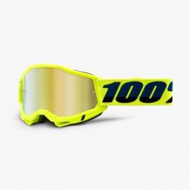 Maschera 100% ACCURI 2 yellow lente specchiata oro Motocross Enduro Mtb