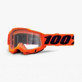 Maschera 100% ACCURI 2 OTG arancione lente trasparente Motocross Enduro Mtb