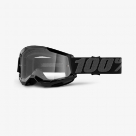 Maschera 100% STRATA 2 nera lente trasparente Motocross Enduro Mtb