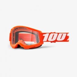 Maschera 100% STRATA 2 arancione lente trasparente Motocross Enduro Mtb