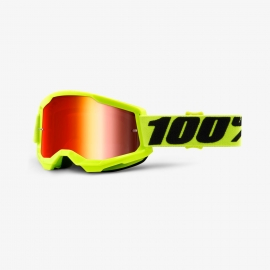 Maschera 100% STRATA 2 giallo fluo lente spechiata rossa Motocross Enduro Mtb