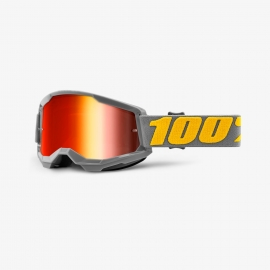Maschera 100% STRATA 2 IZIPIZI lente specchiata rossa Motocross Enduro Mtb