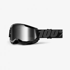 Maschera 100% STRATA 2 NERA lente specchiata argento Motocross Enduro Mtb
