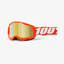 Maschera 100% STRATA 2 ARANCIONE lente specchiata oro Motocross Enduro Mtb