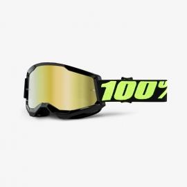 Maschera 100% STRATA 2 UPSOL lente specchiata oro Motocross Enduro Mtb
