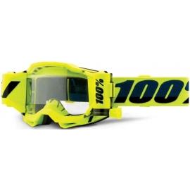 100% ACCURI 2 FORECAST gialla lente chiara con Roll Off motocross enduro quad