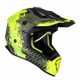 Casco Motocross Just1 J38 MASK giallo fluo nero verde matt Enduro Quad Supermotard