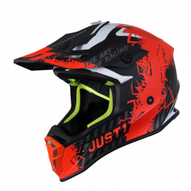 Casco Motocross Just1 J38 MASK arancione fluo nero carbon matt Enduro Quad Supermotard