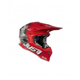 Casco Motocross Just1 J39 KINETIC camo nero grigio e rosso matt Enduro Quad Supermotard