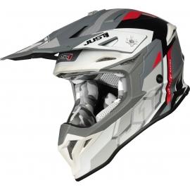 Casco Just1 J39 REACTOR bianco rosso grigio matt Motocross Enduro Quad Supermotard