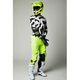 Completo motocross 2021 FOX Flexair  PSYCOSIS bianco nero e giallo fluo enduro quad
