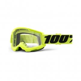 Maschera 100% STRATA 2 gialla lente trasparente Motocross Enduro Mtb