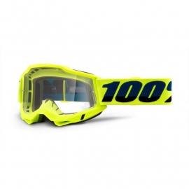 Maschera 100% ACCURI 2 OTG gialla lente trasparente Motocross Enduro Mtb