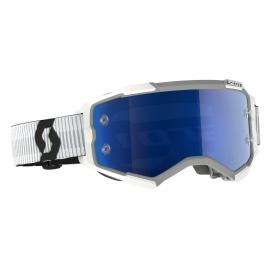 Maschera SCOTT FURY bianca lente specchiata blu motocross enduro dh