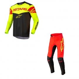 Completo motocross Alpinestars Fluid Tripple 22 rosso giallo fluo enduro Quad