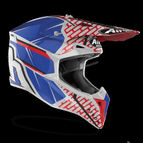 CASCO AIROH WRAAP IDOL rosso blu lucido motocross, enduro quad